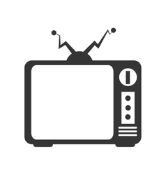 Retro tv icon in black and white colors vector