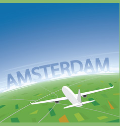 Amsterdam flight destination vector
