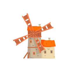 ancient stone windmill building with millers house vector image vector image