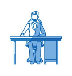 Business man sitting working desk office vector
