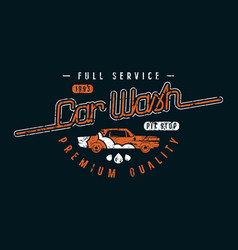 car wash emblem in retro style vector image