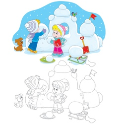 Children building a snow fort vector image