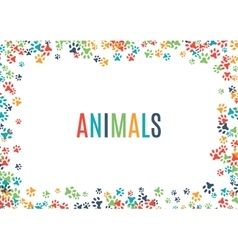 Colorful animal footprint ornament border isolated vector
