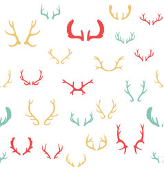 colorful seamless pattern with deer antlers vector image vector image