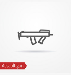 compact submachine gun line icon vector image vector image