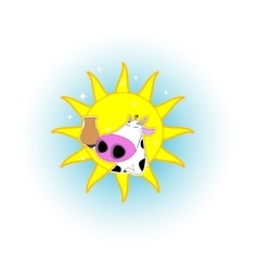 Cute cartoon cow badge vector