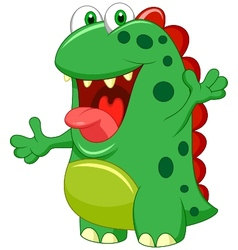 Cute green monster cartoon vector image