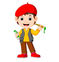 cute man painting with paintbrush vector image