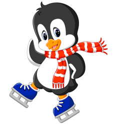 cute penguin ice skating vector image vector image