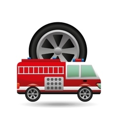 Firetruck icon wheel design vector