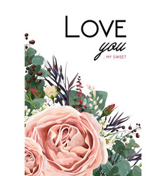 Floral card design with rose flower leaves herbs vector