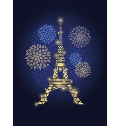 Glowing Eiffel Tower Surrounded By vector image vector image