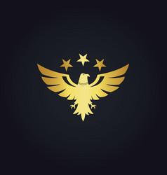 Gold bird eagle star logo vector