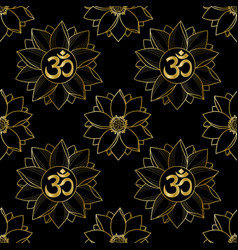 Gold om and lotus seamless pattern vector