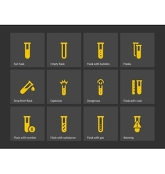 Laboratory test tube icons vector image