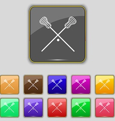 Lacrosse sticks crossed icon sign set with eleven vector