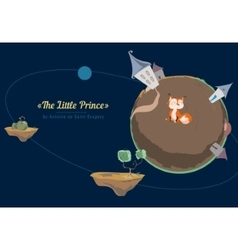 Little fox in space vector image