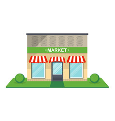 market facade isolated icon vector image vector image