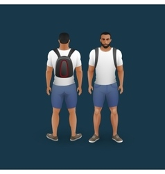 men wearing shorts and t-shirt vector image