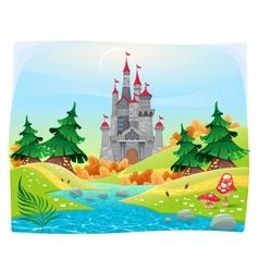 Mythological landscape with medieval castle vector image vector image