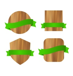 Nature eco green wooden labels vector image vector image