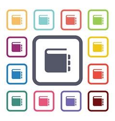 Notepad flat icons set vector