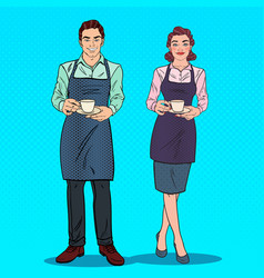 Pop art couple of barista with cup of coffee vector