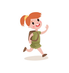 Red-haired girl scout running with cheerful face vector
