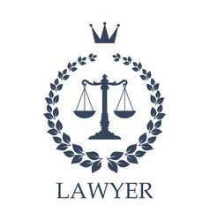 Scales of justice emblem for law firm design vector