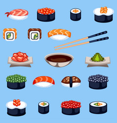 Sushi food traditional asia japan meal vector