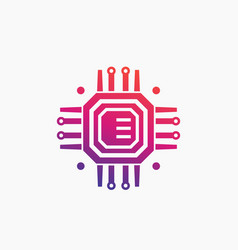 Technology chipset circuit board icon vector