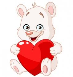 teddy bear holding heart vector image vector image