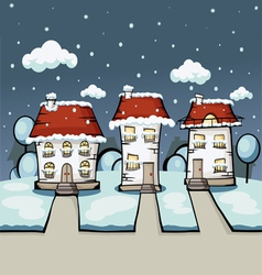 three winter house vector image