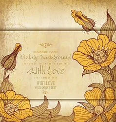 vintage old paper with drawing flowers vector image vector image