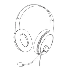 Headphones with microphone isolated vector