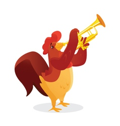 Musical animals rooster trumpet vector