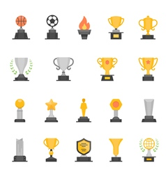 Trophy awards color icons vector