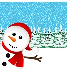 Snowman in the forest vector