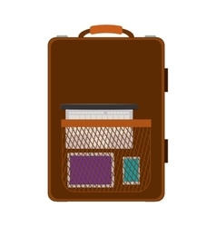 Travel suitcase brown with handle and pocket vector