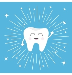 Healthy tooth icon smiling face round line vector