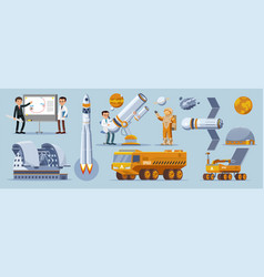 Space exploration elements collection vector