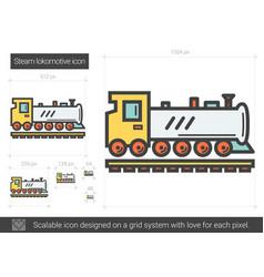 Steam locomotive line icon vector