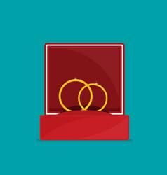 Rings in box flat vector