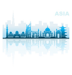 Architectural landmarks of asia vector