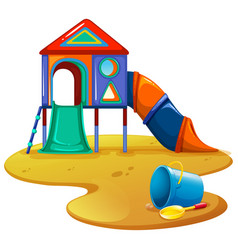 Playground with slide and toys vector