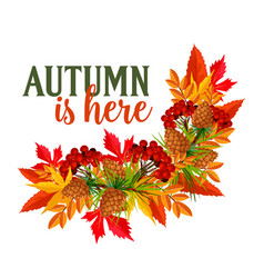 Autumn time leaf wreath greeting poster vector