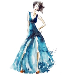 Blue dress fashion vector