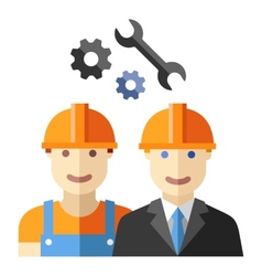 Construction worker flat avatar set vector