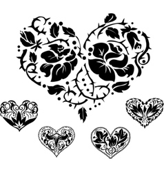 5 heart silhouettes vector