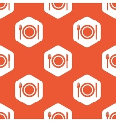 Orange hexagon dinner pattern vector